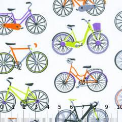 Tecido Tricoline Mista Bicicletas Coloridas 02 - 90% Algodão 10% Poliéster - Largura 1,50m