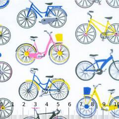 Tecido Tricoline Mista Bicicletas Coloridas 03 - 90% Algodão 10% Poliéster - Largura 1,50m