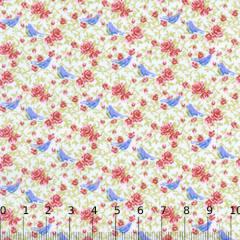 Tecido Tricoline Mista Floral Andorinhas - Rosa - 90% Algodão 10% Poliéster - Largura 1,50m