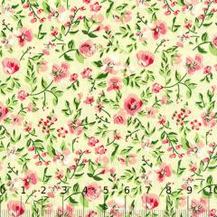 Tecido Tricoline Mista Floral Sacramento - Amarelo - 90% Algodão 10% Poliéster - Largura 1,50m