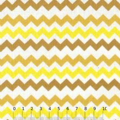 Tecido Tricoline Mista Chevron Multicores - Amarelo - 90% Algodão 10% Poliéster - Largura 1,50m