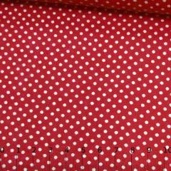 Tecido Tricoline Mista Pop Textoleen Poá M Fundo Vermelho - 50% Algodão 50% Poliéster - Largura 1,38m