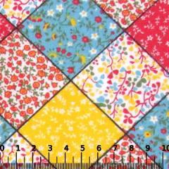 Tecido Tricoline Mista Pop Textoleen Patch Quadrados - Vermelho - 50% Algodão 50% Poliéster - Largura 1,38m