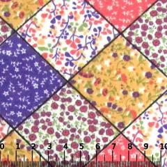 Tecido Tricoline Mista Pop Textoleen Patch Quadrados - Lilás - 50% Algodão 50% Poliéster - Largura 1,38m