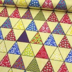 Tecido Tricoline Mista Pop Textoleen Bandeirinhas - Amarelo - 50% Algodão 50% Poliéster - Largura 1,38m