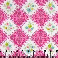 Tecido Tricoline Mista Pop Textoleen Floral Azulejo - Rosa - 50% Algodão 50% Poliéster - Largura 1,38m