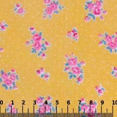 Tecido Tricoline Mista Pop Textoleen Floral Florence Poá - Amarelo - 50% Algodão 50% Poliéster - Largura 1,38m