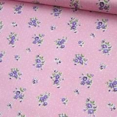 Tecido Tricoline Mista Pop Textoleen Floral Florence Poá - Rosa - 50% Algodão 50% Poliéster - Largura 1,38m