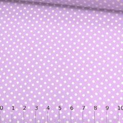 Tecido Tricoline Mista Pop Textoleen Poá M Fundo Lilás - 50% Algodão 50% Poliéster - Largura 1,38m