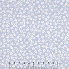 Tecido Tricoline Floral - Trevos Fundo Azul Claro - 100% Algodão - Largura 1,50m