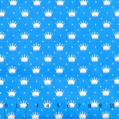Tecido Tricoline Pequenas Coroas e Poás - Azul Turquesa c/ Branco - 100% Algodão - Largura 1,50m