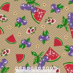 Tecido Tricoline Frutinhas e Flores - Caqui - 100% Algodão - Largura 1,50m