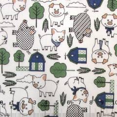 Tecido Tricoline Porquinhos da Fazenda - Verde - 100% Algodão - Largura 1,50m