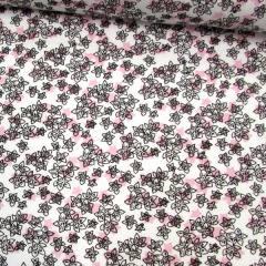 Tecido Tricoline Floral Wind Sombreado Rosa - 100% Algodão - Largura 1,50m