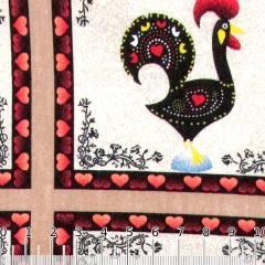 Tecido Tricoline Galo Português Mosaico - Marrom - 100% Algodão - Largura 1,50m