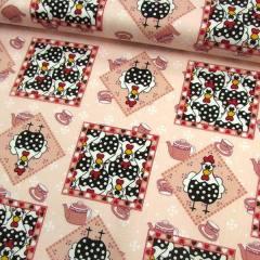 Tecido Tricoline Galinhas Mosaico - Salmão - 100% Algodão - Largura 1,50m