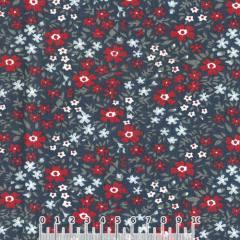 Tecido Tricoline Largo Floral Tina - Azul Marinho - 100% Algodão - Largura 1,60m