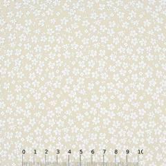 Tecido Tricoline Floral - Trevos Fundo Bege - 100% Algodão - Largura 1,50m