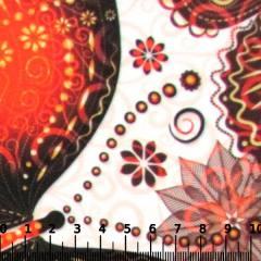 Tecido Gorgurinho Digital - Borboletas Decor Laranja - 100% Poliéster - Largura 1,45m
