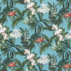 Tecido Impermeável Acquablock® Karsten - Floralis Turquesa - 72% Algodão 28% Poliéster - Largura 1,40m