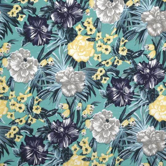 Tecido Impermeável Waterblock® Belize Dohler - Floral Garcia Turquesa - 67% Algodão 33% Poliéster - Largura 1,40m