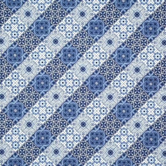 Tecido Impermeável Waterblock® Belize Dohler - Ladrilhos Azul - 67% Algodão 33% Poliéster - Largura 1,40m