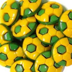 Botão Infantil Bolas de Futebol - Verde e Amarelo (12 unidades)