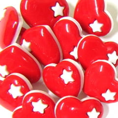 Botão Infantil Coração - Vermelho (12 unidades)