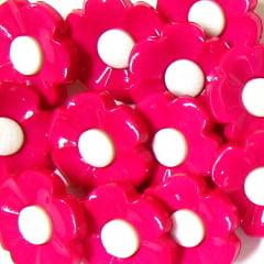 Botão Infantil Flor - Rosa Pink (12 unidades)