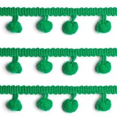 Fita Grelot Pompom 20mm - Rolo c/ 5 metros - Verde Bandeira