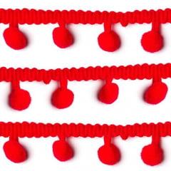 Fita Grelot Pompom 20mm - Rolo c/ 5 metros - Vermelho