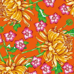 Tecido Chita Floral Amiens - Laranja - 100% Algodão - Largura 1,40m