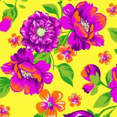 Tecido Chita Floral Angers - Amarelo - 100% Algodão - Largura 1,40m