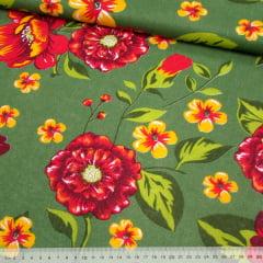 Tecido Chita Floral Angers - Verde - 100% Algodão - Largura 1,40m