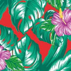 Tecido Chita Floral Annecy - Vermelho - 100% Algodão - Largura 1,40m