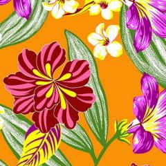 Tecido Chita Floral Antibes - Laranja - 100% Algodão - Largura 1,40m