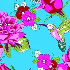 Tecido Chita Floral Argos - Azul Claro - 100% Algodão - Largura 1,40m
