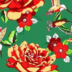 Tecido Chita Floral Argos - Verde - 100% Algodão - Largura 1,40m