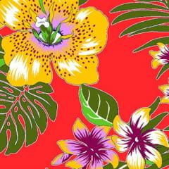 Tecido Chita Floral Arles - Vermelho - 100% Algodão - Largura 1,40m