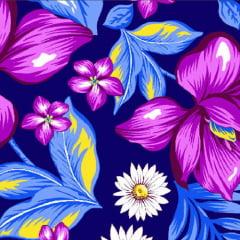 Tecido Chita Floral Atenas - Azul Marinho - 100% Algodão - Largura 1,40m