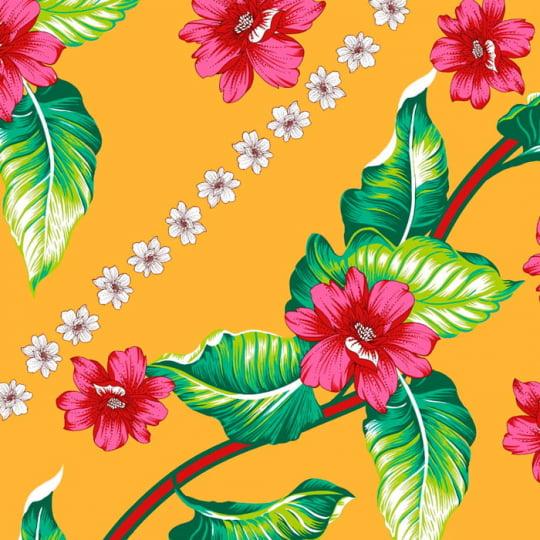 Tecido Chita Floral Berquia - Amarelo - 100% Algodão - Largura 1,40m