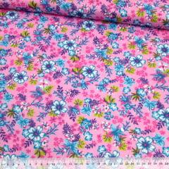 Tecido Chita Floral Biarritz - Rosa - 100% Algodão - Largura 1,40m