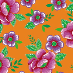 Tecido Chita Floral Blois - Laranja - 100% Algodão - Largura 1,40m