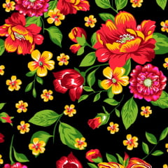 Tecido Chita Floral Chambord - Preto - 100% Algodão - Largura 1,40m