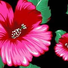 Tecido Chita Floral Grenoble - Preto - 100% Algodão - Largura 1,40m