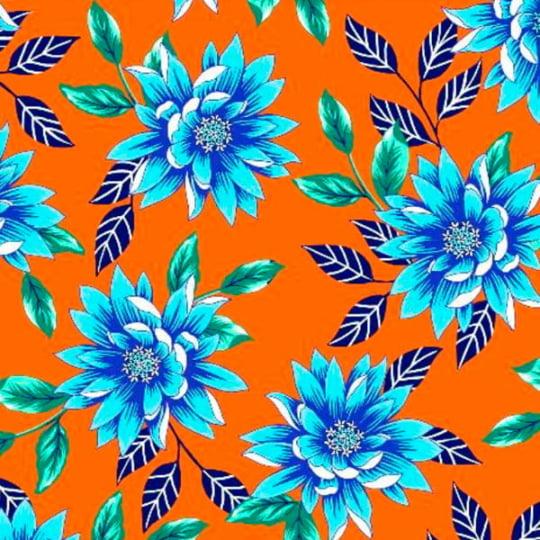 Tecido Chita Floral Kauai - Laranja - 100% Algodão - Largura 1,40m