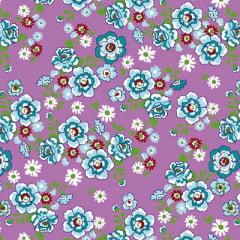 Tecido Chita Floral Lugo - Lilás - 100% Algodão - Largura 1,40m