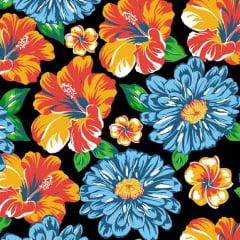 Tecido Chita Floral Marselha - Preto - 100% Algodão - Largura 1,40m