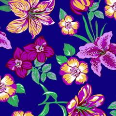 Tecido Chita Floral Mitilene - Azul Marinho - 100% Algodão - Largura 1,40m