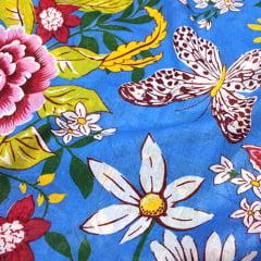 Tecido Chita Floral Nancy - Azul - 100% Algodão - Largura 1,40m